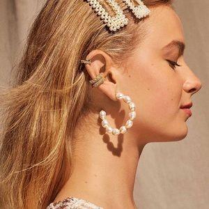 NWT Anthropologie baublebar pearl hoop earrings